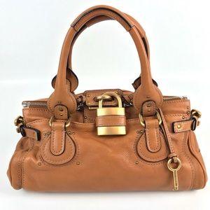 {Chloé} Paddington Cognac Tan Leather Satchel Bag